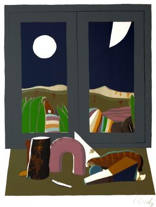 14 - Korab, Karl - Stillleben am Fenster Siebdruck auf Papier, 1971 Rufnummer: 14 Künstler: Karl Korab Titel: Stillleben am Fenster Technik: Siebdruck auf Papier Jahr: 1971 Rufpreis: 200 €