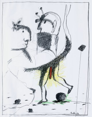 23 - Notto - Figur mit rotem … Mischtechnik auf Papier Rufnummer: 23 Künstler: Notto Titel: Figur mit rotem … Technik: Mischtechnik auf Papier Jahr: 2002 Rufpreis:  200 €