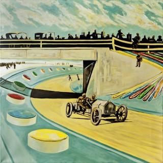 32 - Pozo, José Luis- Oldtimerrennwagen Öl und Acryl auf Papier Rufnummer: 32 Künstler: José Luis Pozo Titel: Oldtimerrennwagen Technik: Öl und Acryl auf Papier Rufpreis:  250 €