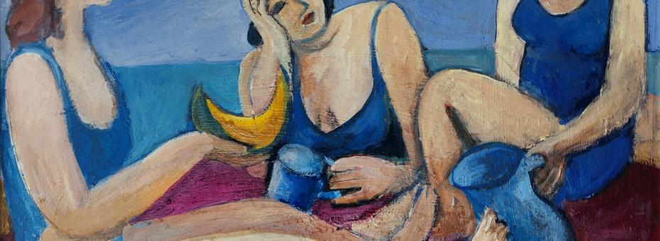 41 - Unbekannter Künstler - Drei Badende Öl auf Platte, 1996  Rufnummer: 41 Künstler: unbekannt Titel: Drei Badende  Technik: Öl auf Platte Jahr: 1996 Rufpreis:  500 €
