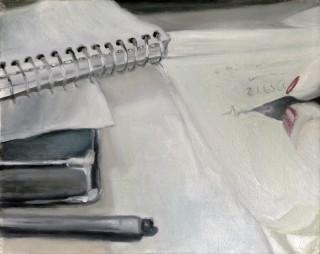 20 - Mlejnek, Sabine - SB- schreibend Öl auf Leinwand Rufnummer: 20 Künstler: Sabine Mlejnek Titel: SB- schreibend Technik: Öl auf Leinwand Rufpreis: 400 €