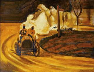 33 - Pozo, José Luis- Oldtimerrennen Öl auf Leinwand Rufnummer: 33 Künstler: José Luis Pozo Titel: Oldtimerrennen Technik: Öl auf Leinwand Rufpreis:  500 €