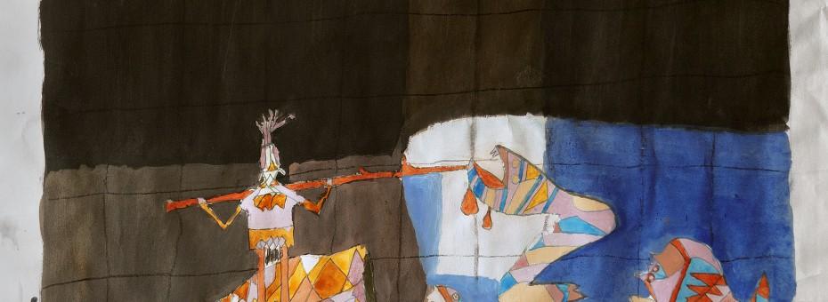 42 - Unbekannter Künstler - Figuren Mischtechnik auf Papier  Rufnummer: 42 Künstler: unbekannt Titel: Figuren Technik: Mischtechnik auf Papier Rufpreis:  200 €