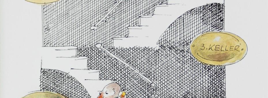 30 - Petzer, Georg - ASVG-Pensionist sucht seine Pensionserhöhung Zeichnung auf Papier, 2001  Rufnummer: 30 Künstler: Petzer, Georg Titel: ASVG-Pensionist sucht seine Pensionserhöhung Technik: Zeichnung auf Papier Jahr: 2001 Rufpreis:  100 €